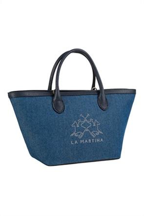 La Martina γυναικεία τσάντα χειρός denim με strass logo ''Fresia''
