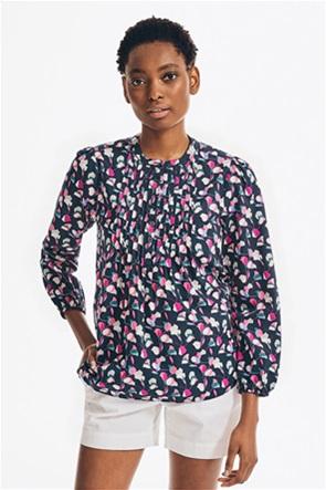 Nautica γυναικεία μπλούζα με all-over print και πλισέ λεπτομέρειες