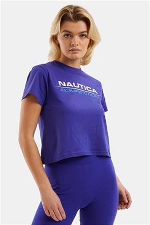 Nautica γυναικεία μπλούζα με logo print cropped