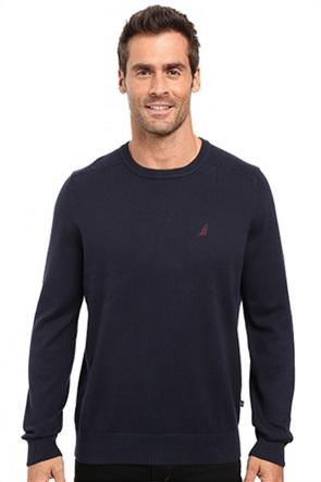 Nautica ανδρική πλεκτή μπλούζα μονόχρωμη με κεντημένο λογότυπο