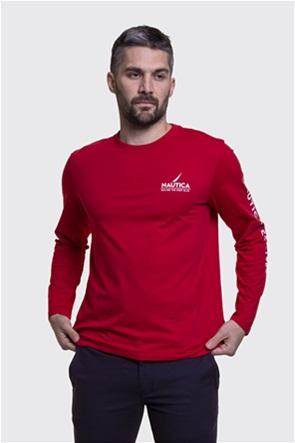 Nautica ανδρική μπλούζα με logo print στο μανίκι