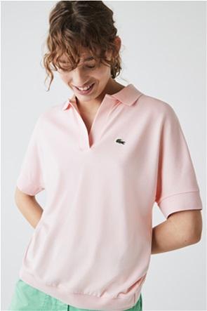Lacoste γυναικεία μπλούζα πόλο με ribbed τελείωμα