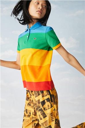 Lacoste γυναικεία πόλο μπλούζα ριγέ ''Lacoste x Polaroid''