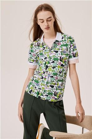 Lacoste unisex πόλο μπλούζα με print