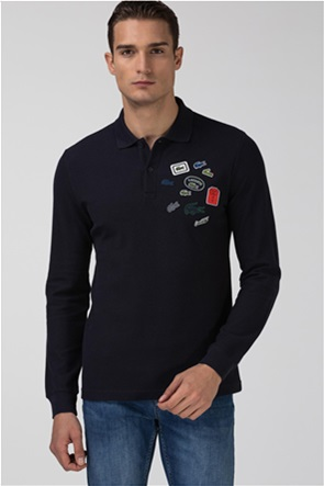 Lacoste ανδρική πόλο μπλούζα με logo patches