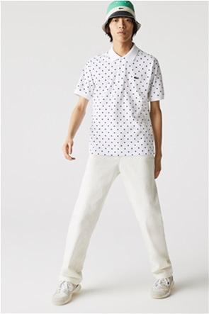 Lacoste ανδρική πόλο μπλούζα με πουά print