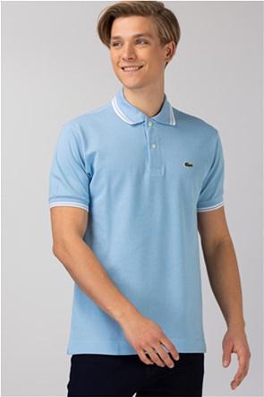 Lacoste ανδρική πικέ μπλούζα πόλο με ριγέ λεπτομέρειες