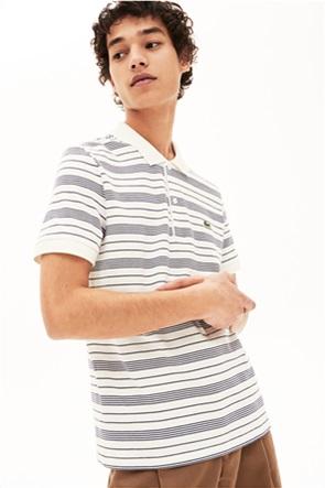 Lacoste ανδρική μπλούζα πόλο με ριγέ print Regular fit
