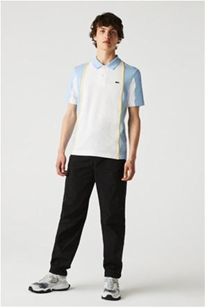 Lacoste ανδρική πόλο μπλούζα colourblocked με κεντημένο λογότυπο