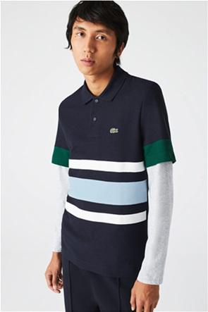 Lacoste ανδρική πόλο μπλούζα με ρίγρε και κεντημένο λογότυπο