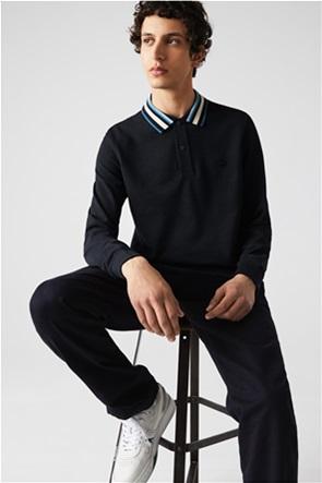 Lacoste ανδρική πόλο μπλούζα με ριγέ σχέδιο στο γιακά