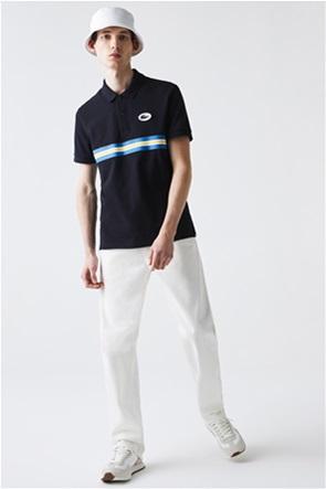 Lacoste ανδρική πικέ πόλο μπλούζα με ριγέ λεπτομέρειες