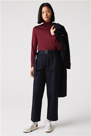 Lacoste γυναικεία μπλούζα μονόχρωμη με ψηλή λαιμόκοψη