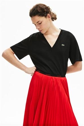Lacoste γυναικείο T-shirt μονόχρωμο με V λαιμόκοψη