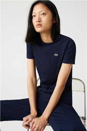 Lacoste γυναικείο ribbed T-shirt με κεντημένο λογότυπο