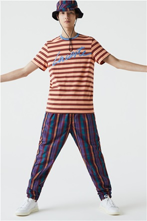 Lacoste ανδρικό T-shirt ριγέ με letter print