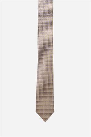 The Bostonians ανδρική γραβάτα με γεωμετρικό μικροσχέδιο