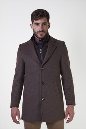 The Bostonians ανδρικό μάλλινο παλτό με επένδυση καπιτονέ