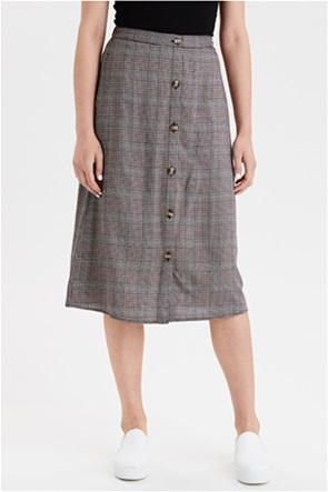 AE High-Waisted Plaid Button Front Midi Skirt