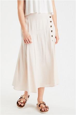 AE High-Waisted Button Side Midi Skirt