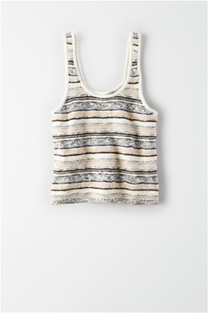 AE Striped Cropped Sweater Tank Top
