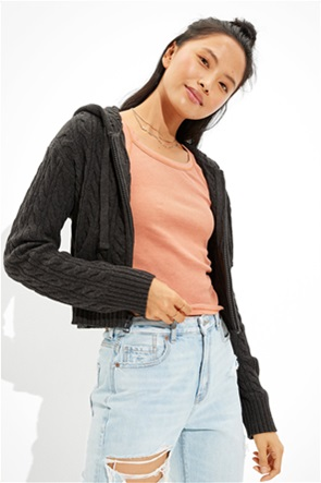 AE Cropped Cable Knit Zip-Up Sweater