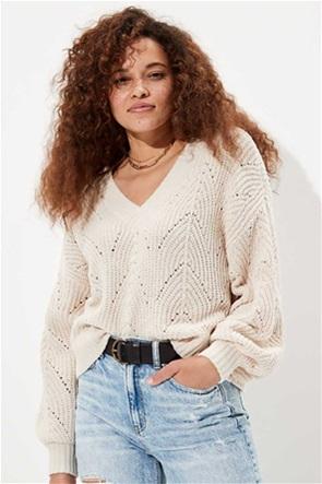 AE Chenille Pointelle V-Neck Sweater