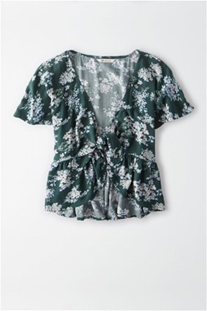 AE Flutter Sleeve Tie Front Top