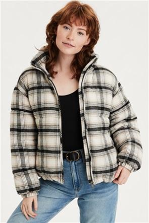 AEO Plaid Wool Puffer Jacket