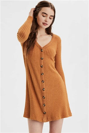 AE Plush Long Sleeve Button Front Dress