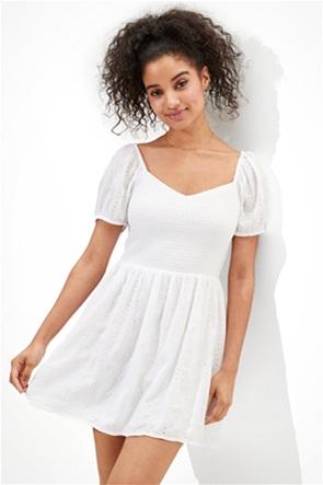 AE Solid Eyelet Puff-Sleeve Mini Dress
