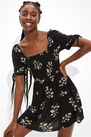 AE Floral Tie-Sleeve Smocked Mini Dress