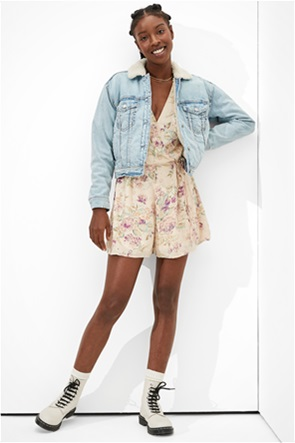 AE Floral Wrap-Front Romper