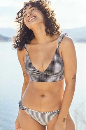 Aerie Seersucker Ruffle Longline Triangle Bikini Top