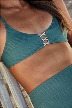 Aerie Jacquard Knot Front Scoop Bikini Top