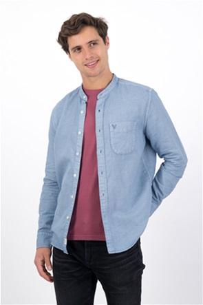AE Linen Band Collar Button Up Shirt