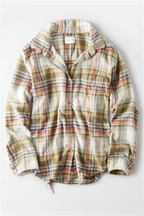 AE Plaid Oversized Button Down Shirt