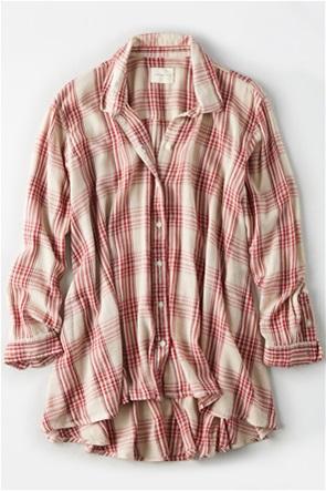AE Plaid Tunic Button Up Shirt