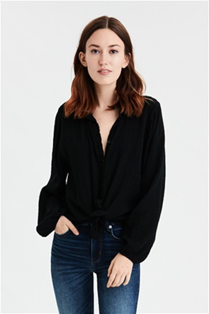 AE Tie Front Cropped Button Up Shirt