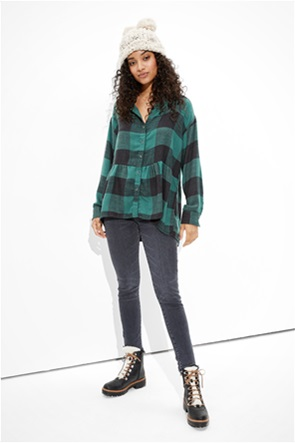 AE Oversized Flannel Babydoll Shirt
