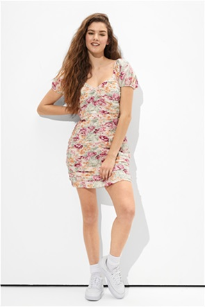 AE Floral Ruched Mini Dress