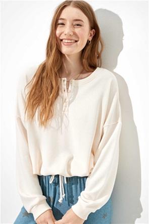 AE Fleece Cinched Henley Sweatshirt