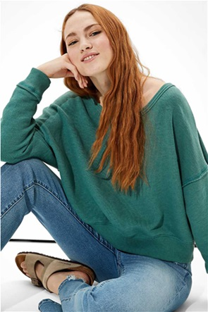 AE Forever Slouchy Cropped Crew Neck Sweatshirt