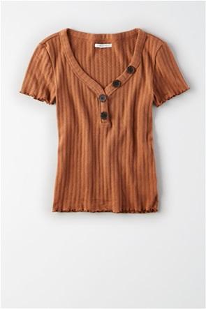 AE Asymmetrical Button Henley T-Shirt