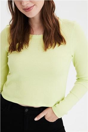 AE Long Sleeve Lace Trim Waffle T-Shirt