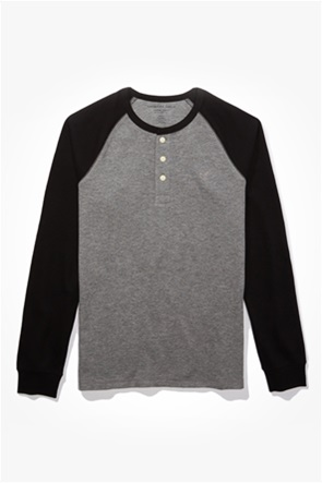 AE Color Block Thermal Henley Shirt
