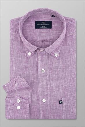 "Oxford Company ανδρικό πουκάμισο λινό με logo label ""Sport"""
