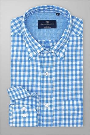 Oxford Company ανδρικό λινό πουκάμισο καρό