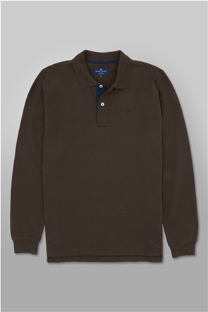 Oxford Company ανδρική πόλο μπλούζα μονόχρωμη με κεντημένο λογότυπο