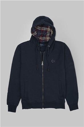Oxford Company ανδρική ζακέτα φούτερ μονόχρωμη Regular Fit